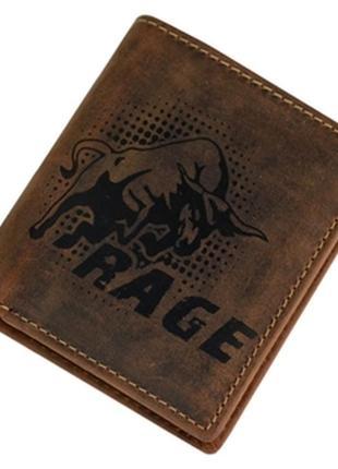 Мужской кожаный тонкий кошелек rage n9 коричневый
