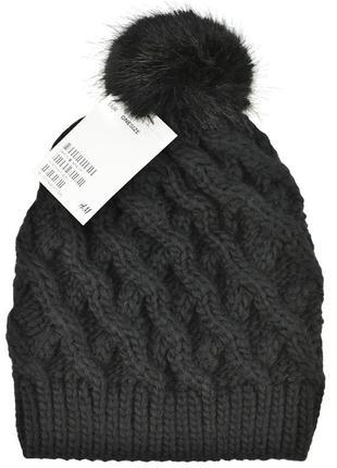 Теплая шапка на девочку h&m one size черная