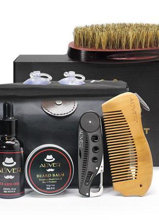 Подарочный набор по уходу за бородой и усами aliver, 7 предметов