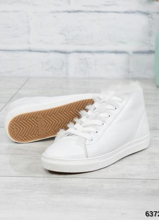 ❤ женские белые зимние кожаные кроссовки сапоги полусапожки бо...