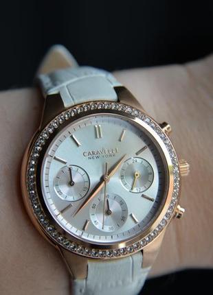 Скидка!женские часы хронограф caravelle by bulova с кристаллами