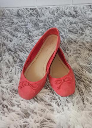 Балетки замшевые коралловые, женские туфли marks and spencer c...
