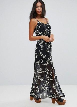 Длинное черное платье сарафан с разрезами