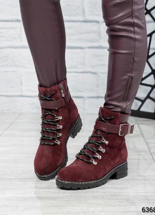 ❤ женские бордовые зимние замшевые  ботинки сапоги полусапожки...