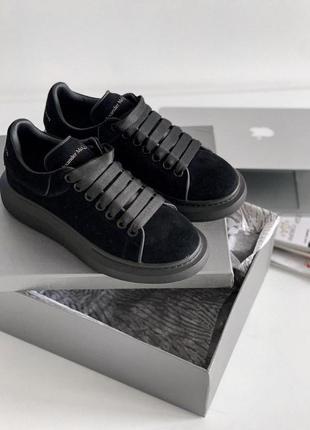 Женские кроссовки alexander mcqueen sneaker suede triple black 😍
