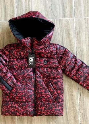 Подростковая теплая куртка на флисовой подкладке, красная с че...
