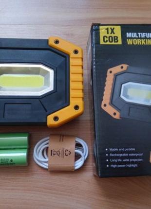 LED прожектор светодиодный на аккумуляторах как Dewalt +Подарок