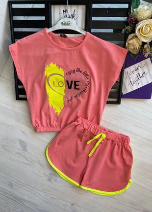 Шикарный костюм для девочки кроп-топ и шорты