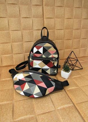 Черный набор 2в1 (рюкзак + бананка) handmade в принт