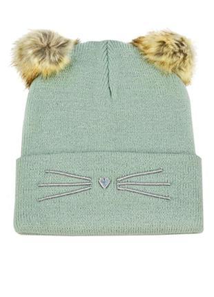 Плотная шапка на девочку h&m 92-104см, 1,5-4года мятного цвета