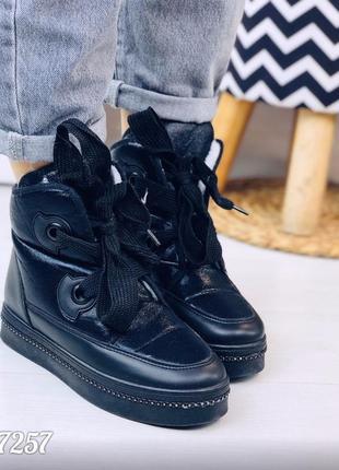 Зимние непромокаемые ботинки черного цвета
