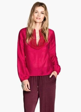 Красная блузка,рубашка, с вышивкой,бисер,этно бохо стиль, h&m