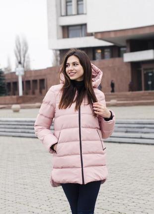 Женская куртка розовая с капюшоном