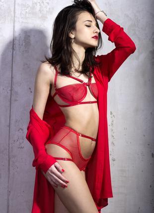 Красный комплект белья с косточками