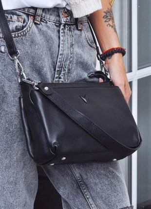 Женская кожаная сумка polina & eiterou чёрная жіноча шкіряна