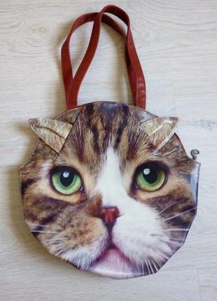 Сумка женская кот на плечо, сумочка в форме кота