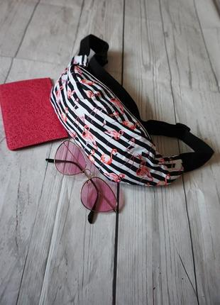 Бананка на пояс с фламинго, сумка на пояс с фламинго, кошелек ...
