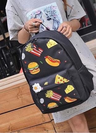 Молодежный женский рюкзак для школы черный с пиццей