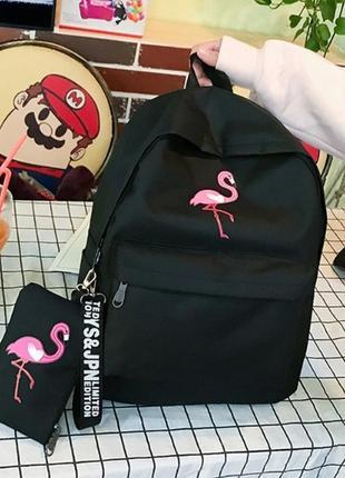 Рюкзак черный женский с фламинго + пенал, молодежный рюкзак