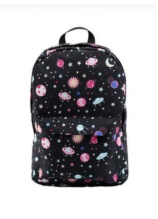 Рюкзак черный женский с принтом космос, рюкзак для школы