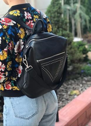 Женский кожаный рюкзак сумка черный жіночий шкіряний ранець чо...