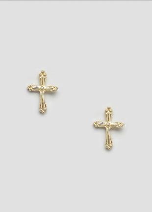 Серьги-гвоздики в виде креста