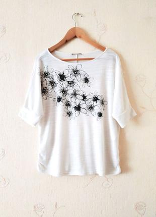 Трикотажная блуза, футболка Orsay, белая, в цветы, кофта, реглан