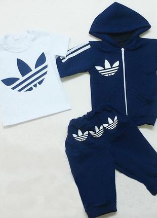 Детский спортивный летний костюм adidas тройка