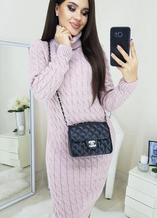 Теплое платье миди нежно-розового цвета