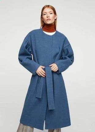 Пальто шерсть кашемир италия новая коллекция цвет фарфор синий...