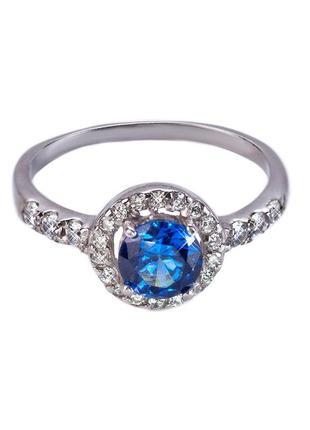 """Серебряное кольцо """"бриллиант"""" с сапфиром"""