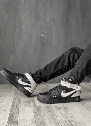 Шикарные мужские кроссовки nike air force 1 high black/white ❄...