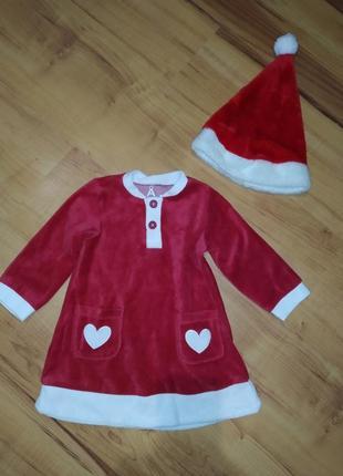 Новогодний костюм, платье санта, помощница деда мороза на 1-2 ...