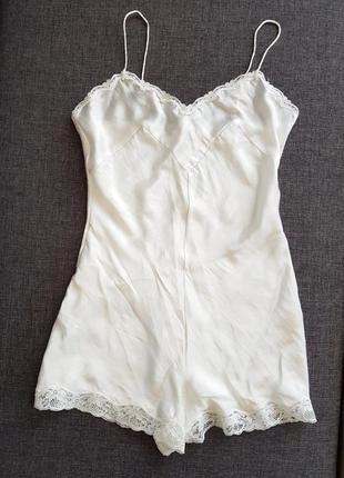 Шелковый ромпер комбинезон ночнушка комбинация шорты пижама