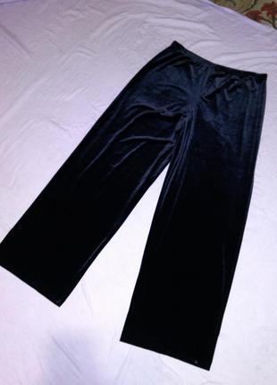 Супер стрейч,бархатные-велюровые,угольно-чёрные,нарядные брюки...