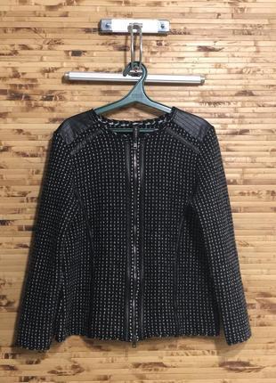 Кофта кардиган свитер marc cain на змейке черно-серого цвета
