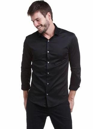Черная приталенная рубашка с глянцем хлопок m&s