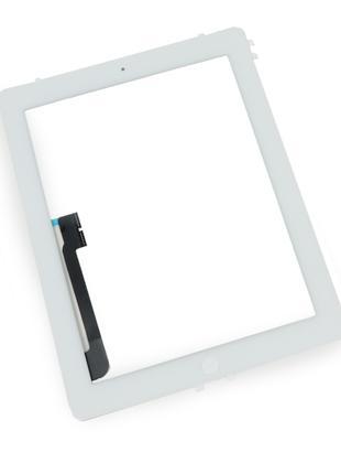 Тачскрин (сенсор) для iPad 3, iPad 4, с кнопкой, цвет белый