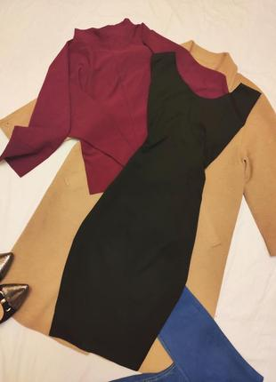 Чёрное стрейчевое платье футляр карандаш миди