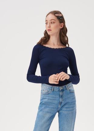 Новая облегающая синяя кофта темно-синяя блузка лонгслив круже...