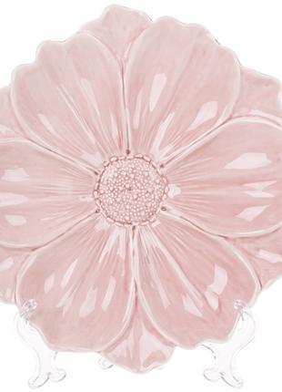 Декоративная тарелка Цветок, 24см, цвет - розовый BonaDi 727-257