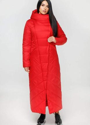 Пуховик-одеяло пв-1133 лаке тон 76 красный, р.44-58, украина