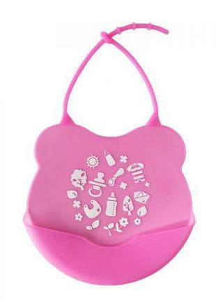 Слюнявчик силиконовый, розовый №0604