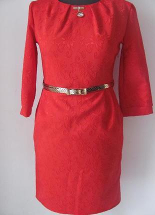 Платье жаккард красное нарядное и на каждый день. код 2908м