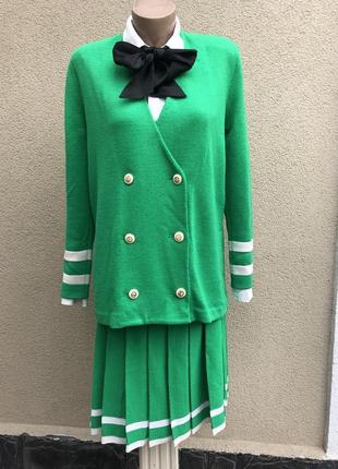 Винтаж,трикотаж,костюм(жакет,пиджак+юбка плиссе)америка,люкс б...
