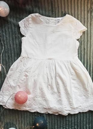 Хлопковое нежное белое платье с вышивкой