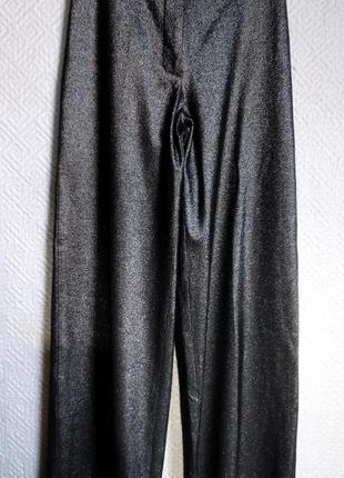 Кюлоты брюки широкие 38 -40 эластичные черные с блеском