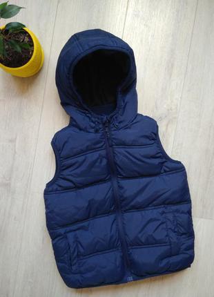 Bluezoo синяя жилетка тёплая детская 6лет 7лет на флисе