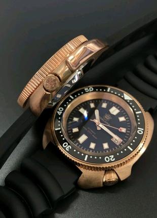Часы Бронзовые дайверы Steeldive хомаж Seiko 6105 черепаха