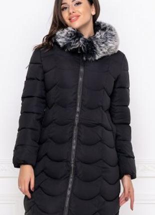 Куртка зимняя теплая с мехом, эко пуховик 42-50 большие размер...